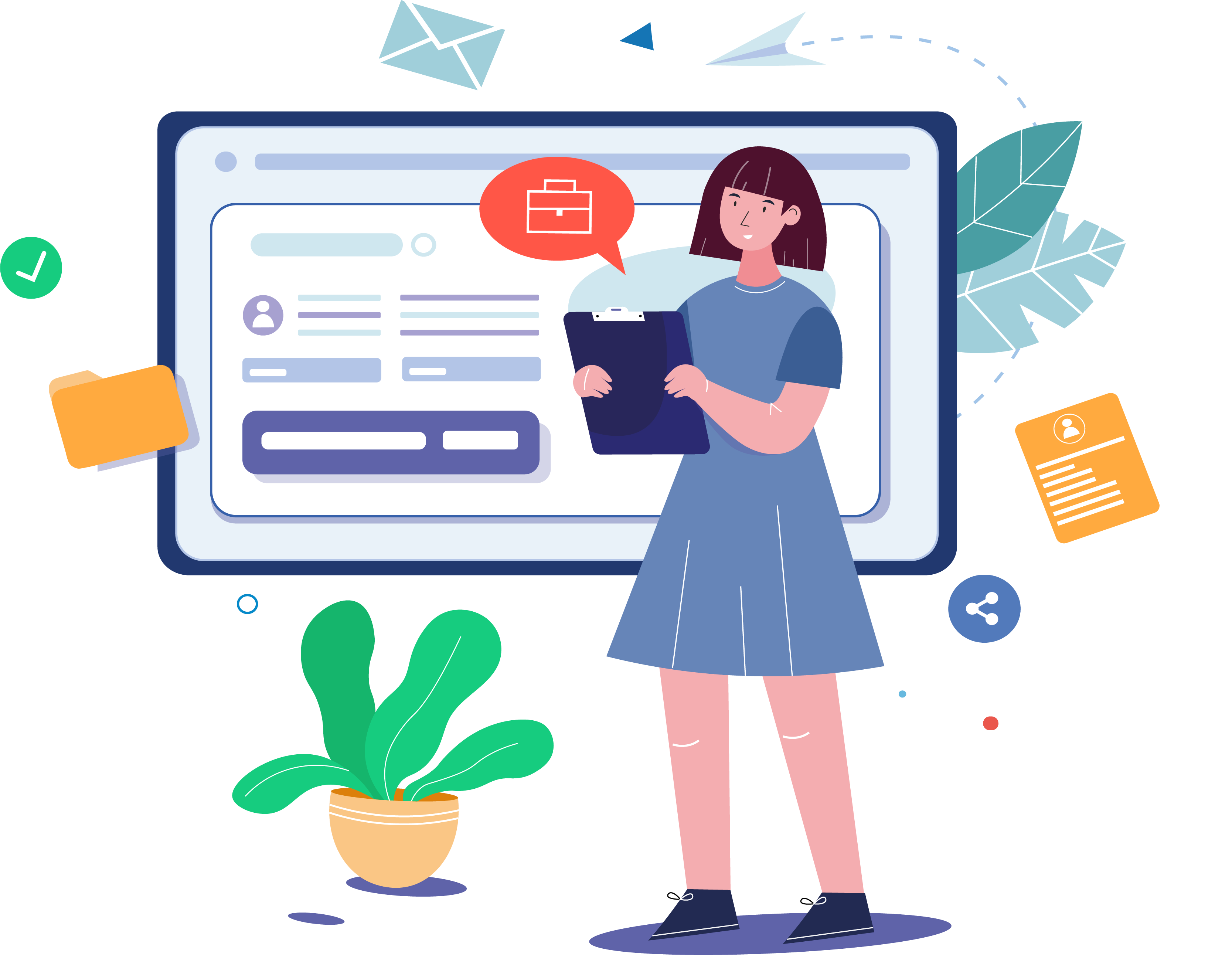 An illustration with a person applying for a job online
