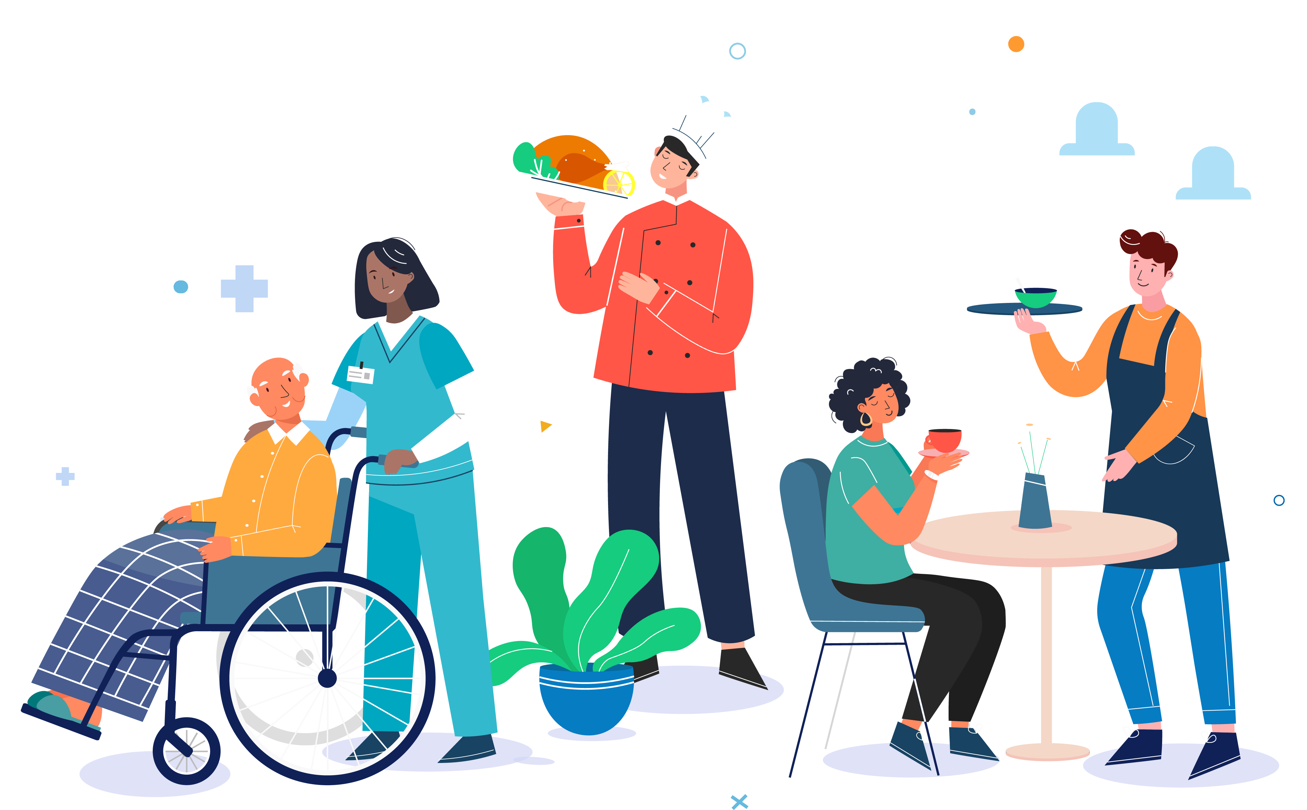 Illustration with workers from different industries